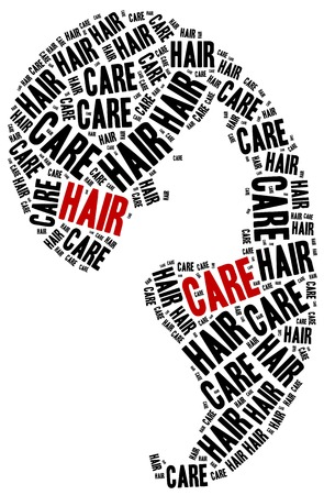 dying: Hair care. Word cloud illustration related to hairdressing. Stock Photo