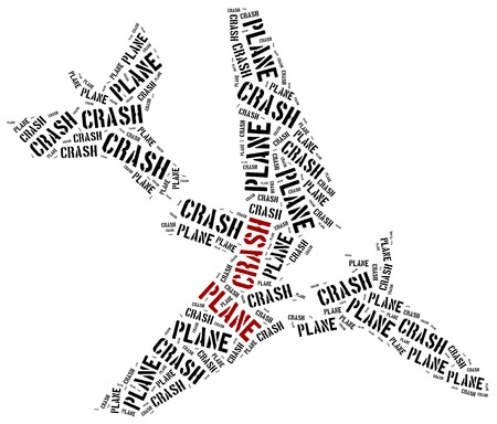 Plane crash or air crash. Word cloud illustration. illustration