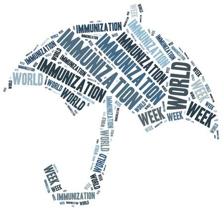 World immunization week. Word cloud illustration. Stock fotó