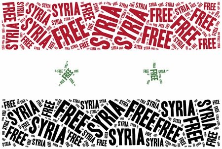 syrian civil war: Free Syria. Word cloud illustration related to syrian civil war.