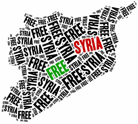 civil: Free Syria. Word cloud illustration related to syrian civil war.