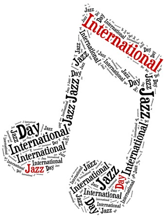 30th: International jazz day. Celebrated on 30th april. Word cloud illustration. Stock Photo