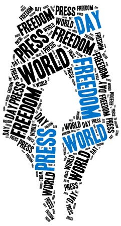 censorship: World press freedom day. Celebrated on 1st May. Word cloud illustration.