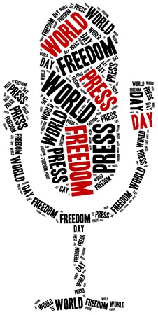 observance: World press freedom day. Celebrated on 1st May. Word cloud illustration.