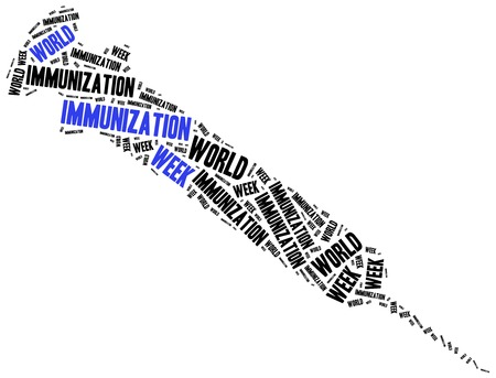 preventing: World immunization week. Word cloud illustration. Stock Photo