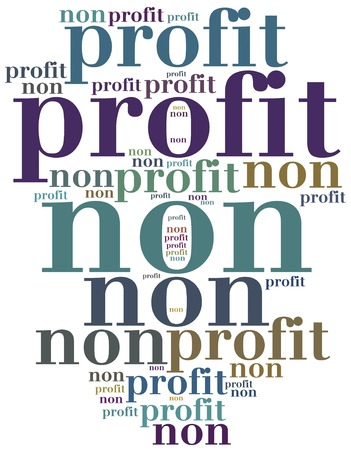 non: Non profit organization or business. Word cloud illustration. Stock Photo
