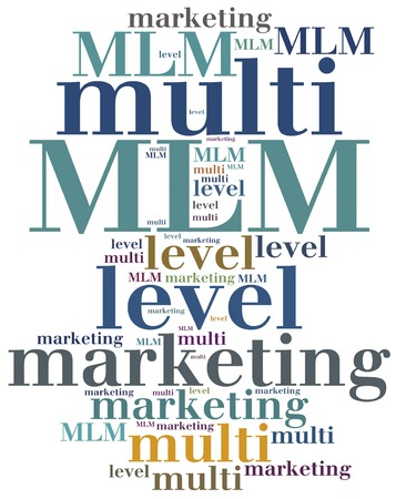 mlm: MLM. Multi level marketing. Advertising strategy. Stock Photo