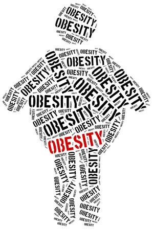 obesidad infantil: Ilustraci�n Nube de palabras relacionadas con la obesidad. Concepto de salud. Foto de archivo