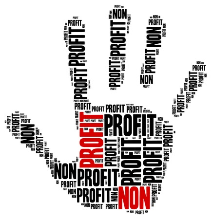 non: Non profit organization or business. Word cloud illustration. Stock Photo