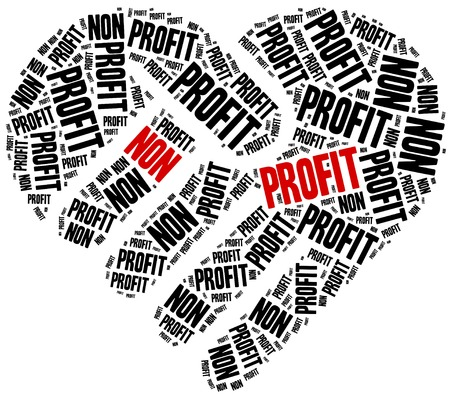 humanitarian: Non profit organization or business. Word cloud illustration. Stock Photo