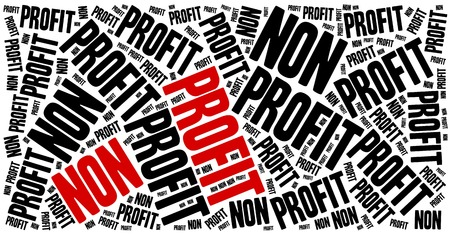 non profit: Non profit organization or business. Word cloud illustration. Stock Photo