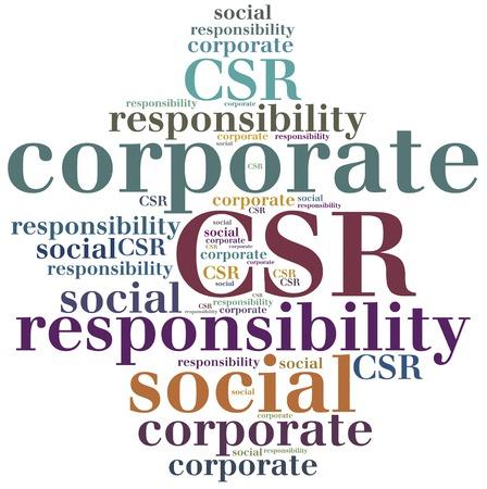CSR. Corporate social responsibility. Word cloud illustration.