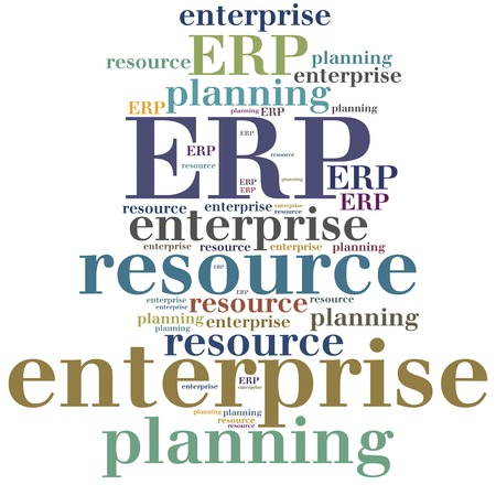 erp: ERP. Enterprise resource planning. Word cloud illustration. Stock Photo