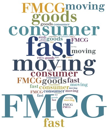 consumer goods: FMCG or fast moving consumer goods. Word cloud illustration. Stock Photo