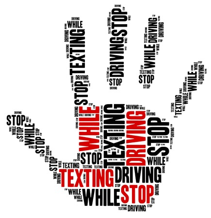 text: Texting and driving a car. Warning message. Word cloud illustration.