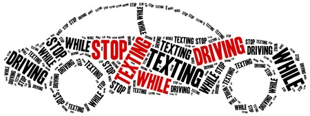 text messaging: Texting and driving a car. Warning message. Word cloud illustration.