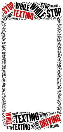 distraction: Texting and driving a car. Warning message. Word cloud illustration.