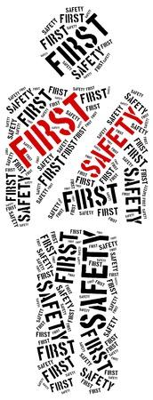 seat belt: Fasten seat belt. Safety first. Word cloud illustration.