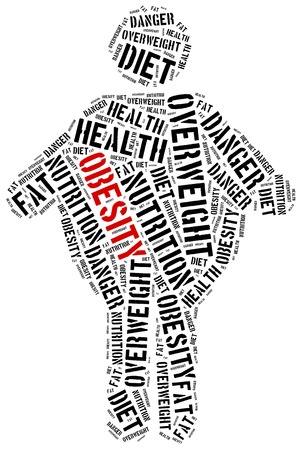 obesidad infantil: Ilustración Nube de palabras relacionadas con la obesidad. Concepto de salud. Foto de archivo