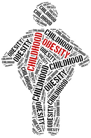 幼年期の肥満に関連する単語雲のイラストです。医療コンセプト。