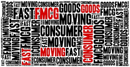 FMCG or fast moving consumer goods. Word cloud illustration. Фото со стока
