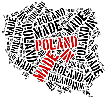 manufactured: Made in Poland. Label on manufactured product. Stock Photo
