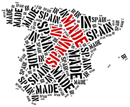 made in spain: Made in Spain. Label on manufactured product. Stock Photo