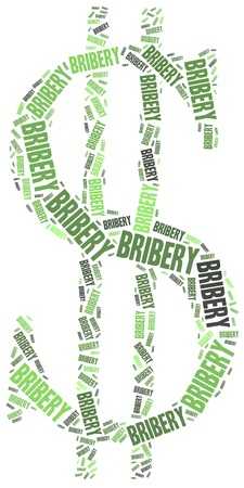 bribery: Bribery crime. Word cloud illustration.