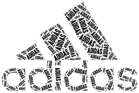 May 3, 2015: A word cloud illustration related to sport brand. Adidas logotype.