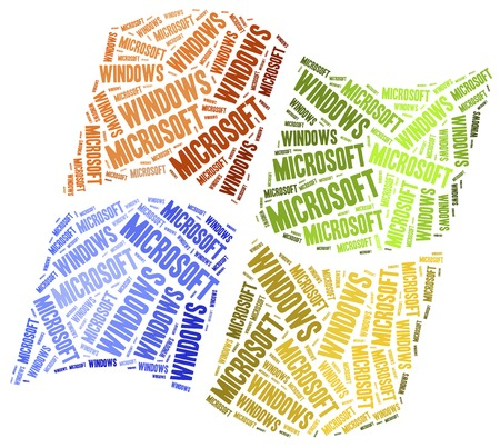 May 3, 2015: A word cloud illustration related to software brand. Microsoft Windows logotype used between 2009 and 2012. Sajtókép