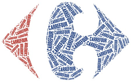 carrefour: May 3, 2015: A word cloud illustration related to retailer brand. Carrefour logotype.