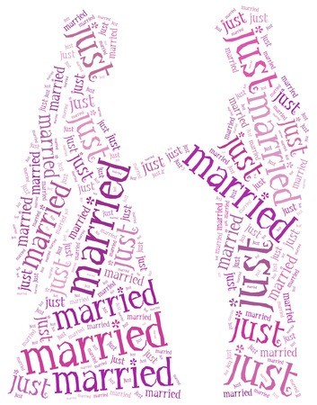 Just married. Man and woman wedding. Word cloud illustration.