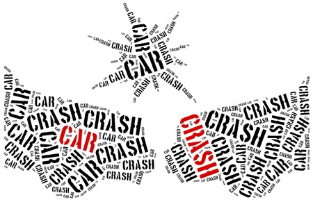 drunk driving: Car crash or accident. Word cloud illustration.
