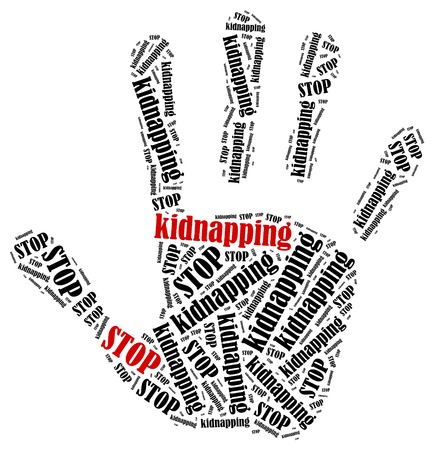 trafficking: Stop kidnapping. Word cloud illustration in shape of hand print showing protest.