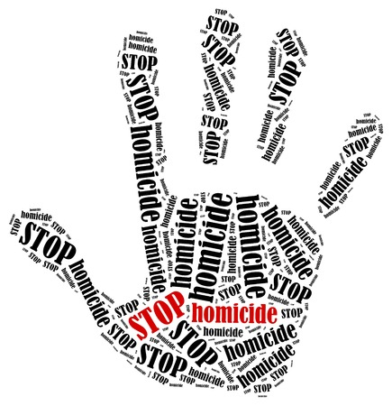 homicide: Stop homicide. Word cloud illustration in shape of hand print showing protest.