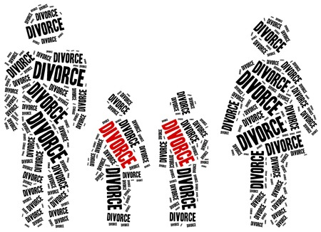 divorce: El divorcio de la ruptura del matrimonio. Ilustración de la nube de Word. Foto de archivo