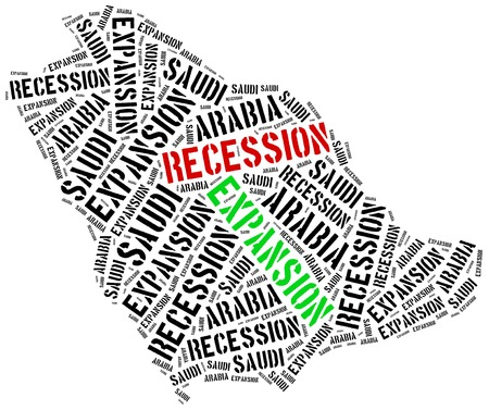 recession: Expansion and recession in Saudi Arabia. Business cycle concept.