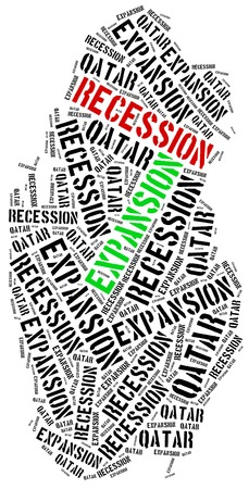 emerging economy: Expansion and recession in Qatar. Business cycle concept.