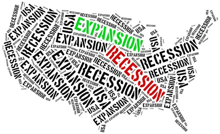 emerging economy: Expansion and recession in USA. Business cycle concept.