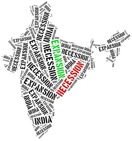 emerging economy: Expansion and recession in India. Business cycle concept.
