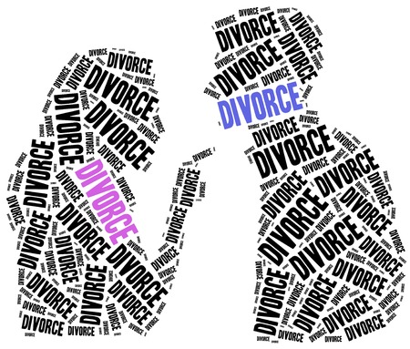 broken love: Divorce of marriage breakup. Word cloud illustration.