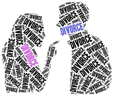 divorcio: El divorcio de la ruptura del matrimonio. Ilustración de la nube de Word. Foto de archivo
