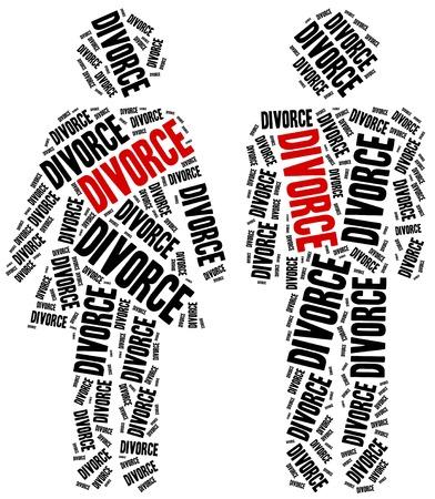 ley: El divorcio de la ruptura del matrimonio. Ilustraci�n de la nube de Word. Foto de archivo