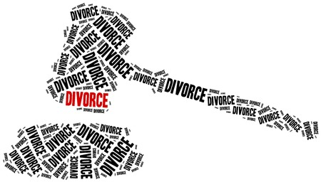 divorce court: Divorce of marriage breakup. Word cloud illustration.