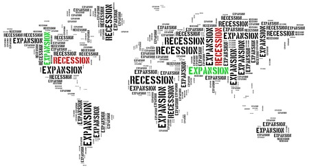 emerging market: World expansion and recession. Business cycle concept.
