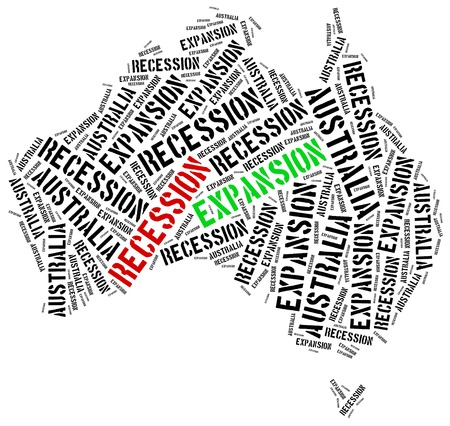 expansion: Expansion and recession in Australia. Business cycle concept.