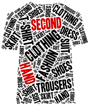 used clothes: Second hand or used clothes store. Word cloud illustration. Stock Photo