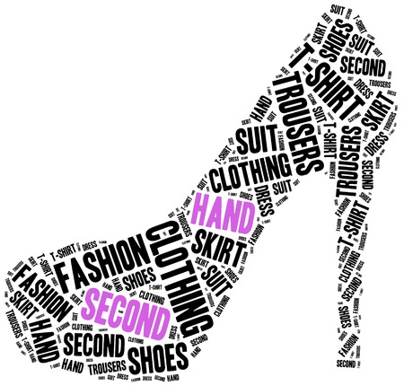 second hand: Second hand or used clothes store. Word cloud illustration. Stock Photo