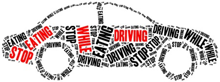while: Stop eating while driving. Word cloud illustration. Stock Photo