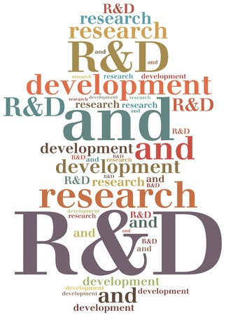 abbreviation: R&D. Research and development. Business abbreviation. Stock Photo